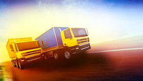 Two orange semi-trucks with cargo containers. 3d rendered illustration of two orange semi-trucks with cargo containers on blurry asphalt road under blue sky and Royalty Free Stock Images