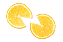 Two orange slices Stock Images