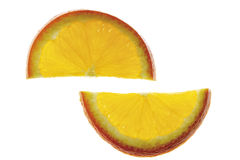 Two orange slices, elevated view, close-up Royalty Free Stock Photography