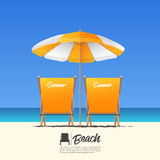 Two orange summer beach chair in back view and orange beach umbrella. Blue gradient sky background. Vector Illustration royalty free illustration
