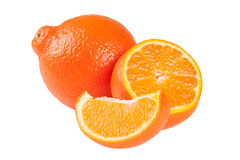 Two orange tangerine or Mineola with slices isolated on white background Royalty Free Stock Image