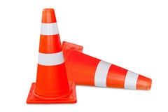 Two orange traffic cone. Two orange and white  traffic cone on white background Stock Photos