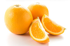Two orange in white isolated. Two Orange isolated on white background Stock Photography