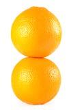 Two oranges. Isolated on white background stock photos