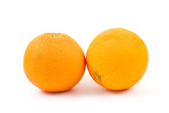 Two oranges. Isolated on the white background Royalty Free Stock Photography