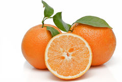 Two oranges and a half. royalty free stock images