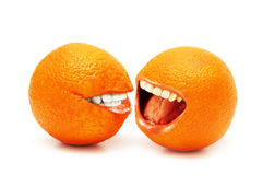 Two oranges isolated Stock Photography