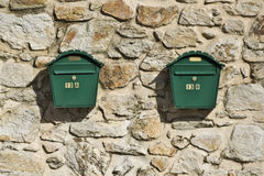 Two ordinary post boxes Royalty Free Stock Photography
