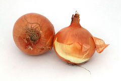 Two organic onions. On a white background Stock Images
