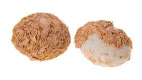 Two oriental Century Eggs on background Royalty Free Stock Photos