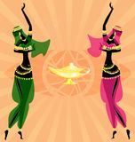 two oriental dancing girls Stock Image