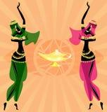 Two oriental dancing girls Stock Image