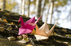 Two origami cranes in the Nature Royalty Free Stock Images