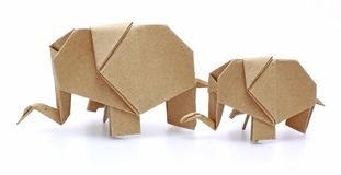 Two origami elephants recycle paper Royalty Free Stock Photos