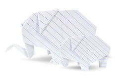 Two origami elephants white recycle paper Royalty Free Stock Photography