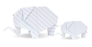Two origami elephants white recycle paper Royalty Free Stock Images