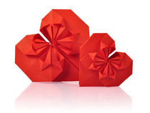 Two origami hearts Stock Photography