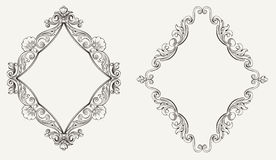 Two Original Calligraphy Rhombus Frames Royalty Free Stock Photography