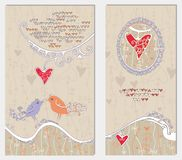 Two original cards for Valentine's Day. Royalty Free Stock Photography