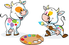 Two original cows painted spots on their body - funny vector. Illustration Royalty Free Stock Photos