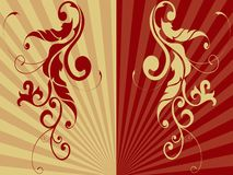 Two ornaments. Two floral ornaments in red and brown Royalty Free Stock Photos