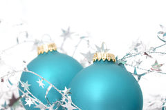 Two ornaments with silver stars Stock Photos