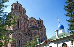 Two Orthodox churches: Serbian and Russian churches in Belgrade. Belgrade, Serbia - September 24, 2014: Two orthodox churches: Serbian and Russian churches in royalty free stock photography