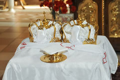 Two Orthodox Wedding Ceremonial Crowns Ready Royalty Free Stock Images