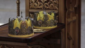 Two Orthodox Wedding Ceremonial Crowns Ready for. Ceremony, HD stock video footage