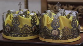 Two Orthodox Wedding Ceremonial Crowns Ready for. Ceremony, HD stock footage