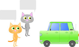 Two other cat discuss the car. Stock Photography