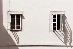 Two outdoor vintage window. Shade recline Royalty Free Stock Photos