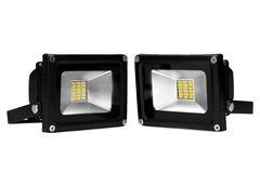 Two Outdoor Waterproof LED Floodlight Isolated On White Royalty Free Stock Photography
