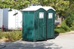 Two outhouses availiable royalty free stock photography