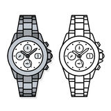 Two outline drawings of wristwatches Royalty Free Stock Images
