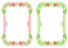 Two oval vertical floral frame Stock Photos