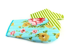 Two oven gloves in cyan and green Royalty Free Stock Photos