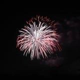 Two overlap firework explode Stock Photo
