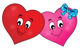 Two overlapping stylized hearts theme 1 Royalty Free Stock Photo
