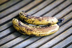 Two overripe bananas Stock Photos