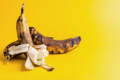 Two overripe blackened ugly bananas on bright yellow background . Two overripe blackened ugly bananas on bright yellow background with copy space royalty free stock photography