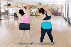 Two overweight women stretching hands together stock photos