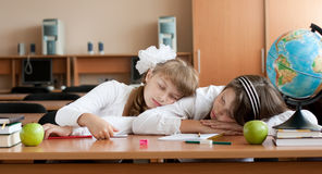 Two overworked preteen schoolgirls are sleeping Stock Photos
