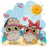 Two Owls on the beach. Greeting card Two Owls in sitting on the beach royalty free illustration