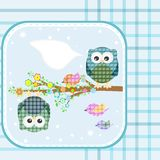 Two owls and birds on the tree. Vector. Illustration Royalty Free Stock Images