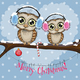 Two Owls on a branch. Greeting Christmas card Two Owls on a branch royalty free illustration