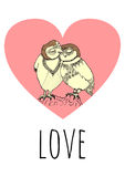 Two owls in love hand drawn with a pink heart on the background with a word love Stock Photography