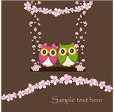 The two owls in love on a swing of flowers Stock Photography