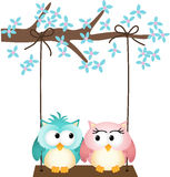 Two owls in love on a swing Royalty Free Stock Photography