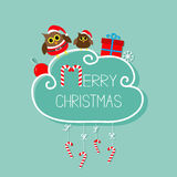 Two owls in Santa hat, giftbox, snowflake, ball. Merry Christmas card. Hanging Candy Cane. Dash line with bow. Flat design. Blue b Stock Photography